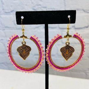 HANDMADE Hoop Beaded Boho Dangle Pink Earrings